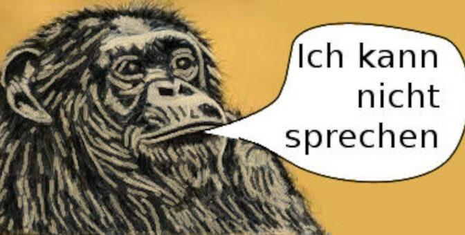 Affe und Mensch unterscheiden sich in der Sprechfähigkeit.